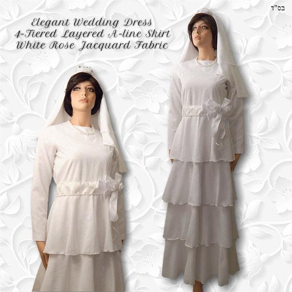 Items similar to Modest Wedding Dress Tznius Bridal Gown White Rose ...