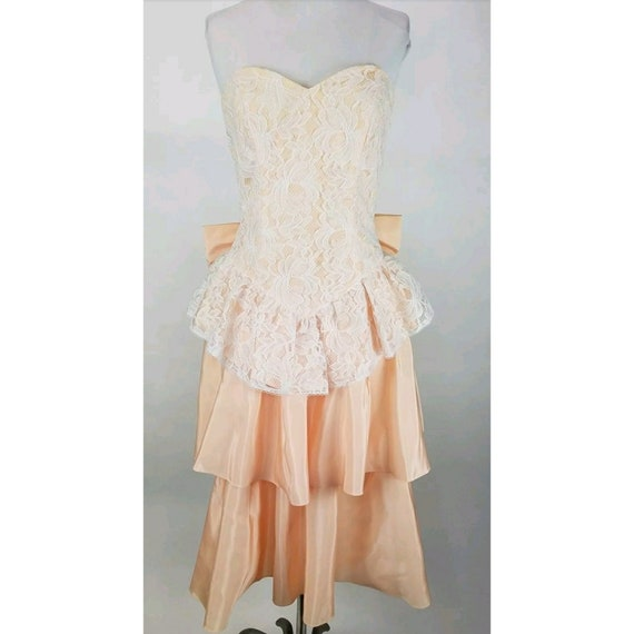 4e22549af0654 Vintage Gunne Sax Dress Size 7 Peach Ombre Strapless Lace