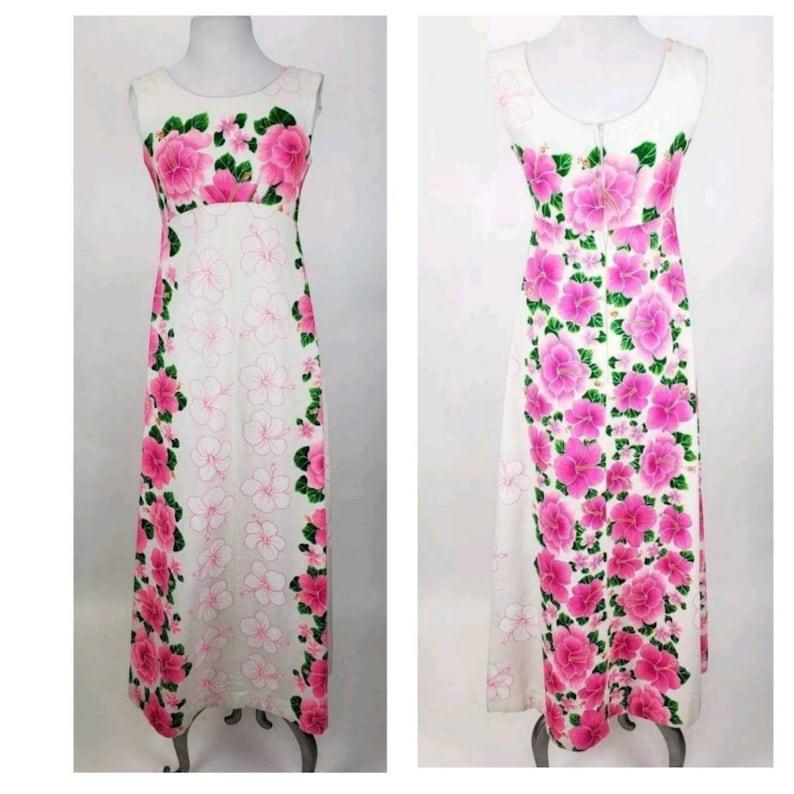 c4ca2b2e794 Vintage Pomare Hawaiian Barkcloth Maxi Dress Pink Hibiscus