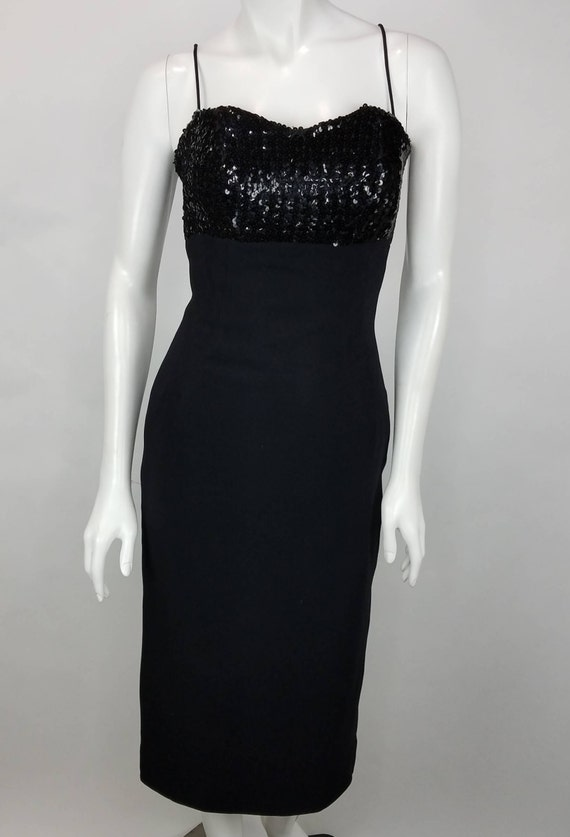 1950s Dress ~ Pink and Black Gothic Embroidered Crop Top Cocktail Dress Jay Herbert