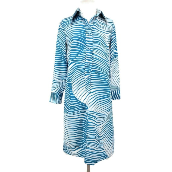 Vintage Lanvin Shirt Dress Womens 10 Blue White Co