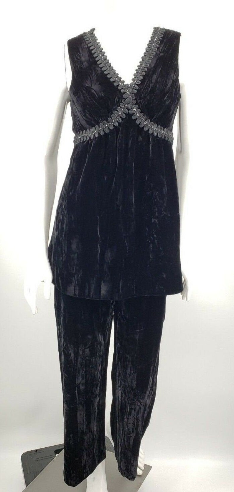 Vintage Peck /& Peck Fifth Avenue New York Tunic Top High Waist Pants Black Velvet