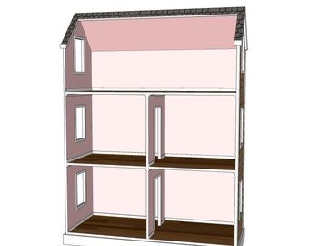 Doll House Plans For American Girl Or 18 Inch Dolls 5 Room Etsy