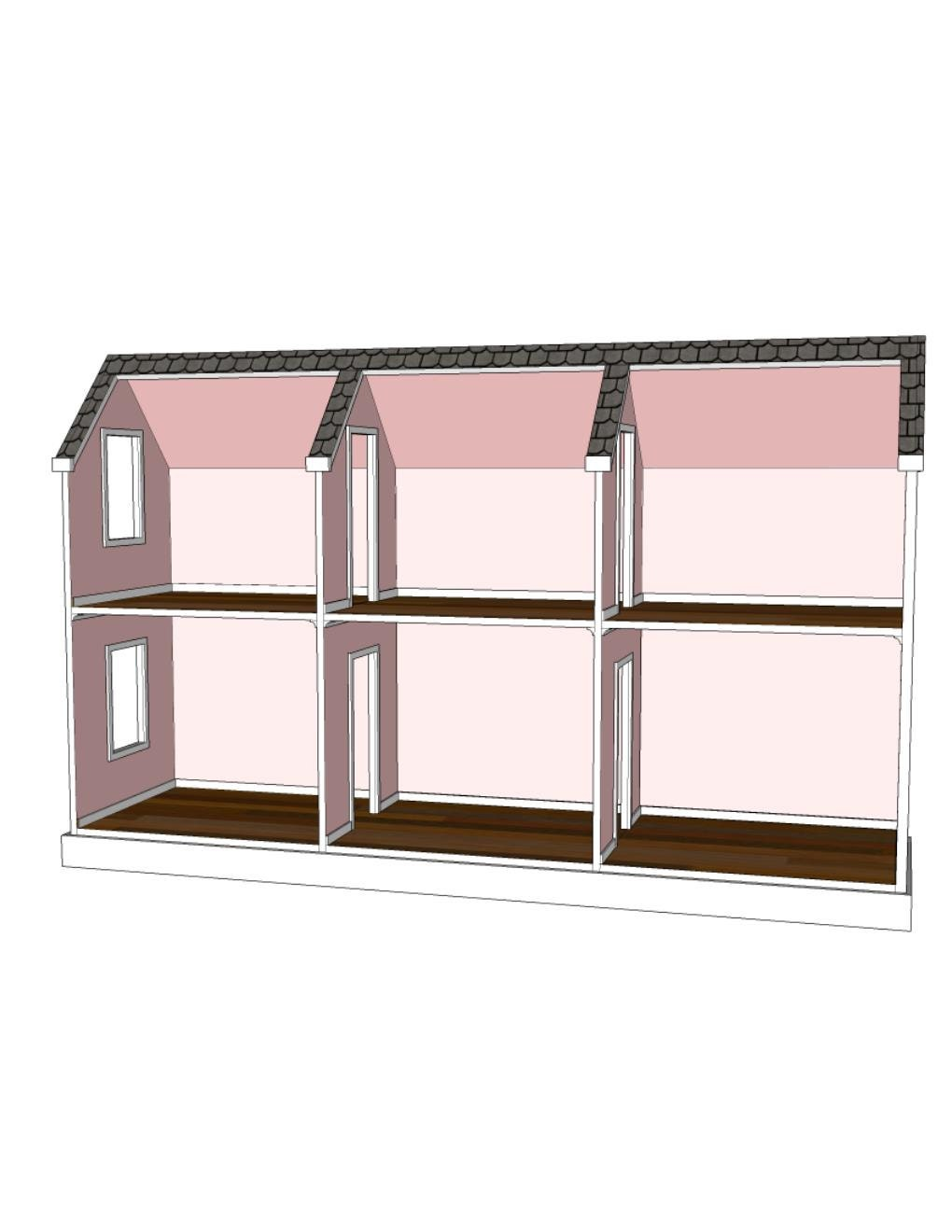 Doll House Plans For American Girl Or 18 Inch Dolls 6 Room Etsy