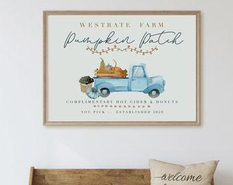 Personalized Pumpkin Patch Farm Sign-Printable Fall Pumpkin Sign-Custom Autumn Wall Art- Modern Farmhouse Fall Decor PDF File