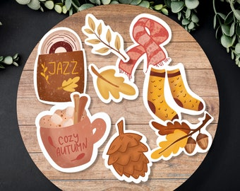 Cozy Autumn Sticker pack - Fall Planner Stickers, Journal, boho stickers, autumn die cut stickers, Scrapbook, Hygge Stickers, Happy Planner