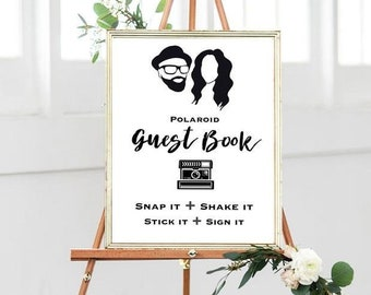 Photo Guest book Sign, Wedding Photo Guestbook Sign, Photo Guestbook Printable, Wedding Reception, Script Font,Instant Download, personalize
