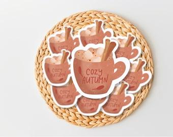 Hot Cider Sticker, Fall Coffee mug Sticker, Coffee Journal, boho stickers, autumn die cut stickers, Scrapbook, Hygge Stickers, Happy Planner