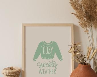 Hello Sweater Weather Fall Sign-Printable Fall cozy Sign-Custom Autumn Wall Art-modern boho fall sign, Modern Farmhouse Fall Decor PDF File