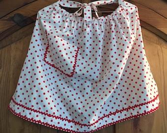 Vintage Apron - Red Polka Dots