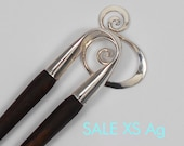 wooden hairfork with metall and glassball, brass, wood hairstick,hair fork, fork,bunholder, bridal hair jewelry, bride hairstyle, classic