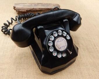 Black Bakelite Monophone  ~   Automatic Electric Monophone  ~  Monophone Made In U.S.A.  ~  1940's Monophone  ~  Bakelite Monophone