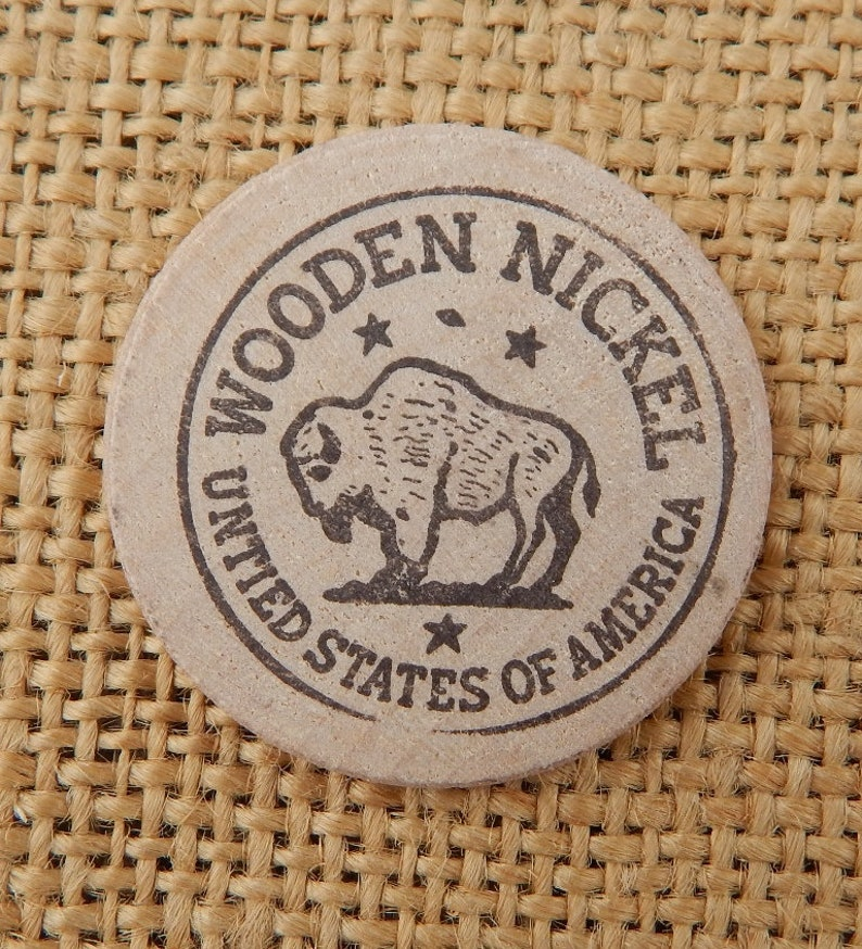 5 Buffalo Wooden Nickels Wooden Nickel Linder Drug Promotional Wooden Nickel 1960s Advertising Nickel Linder Drug In Springer Nm