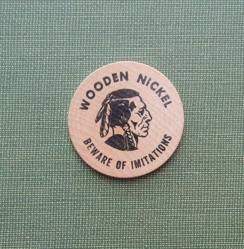 5 Wooden Nickels Wooden Adverting Nickel Scotch Tape Promotion Promotional Wooden Nickel 1960s Advertising Nickel Wooden Nickel