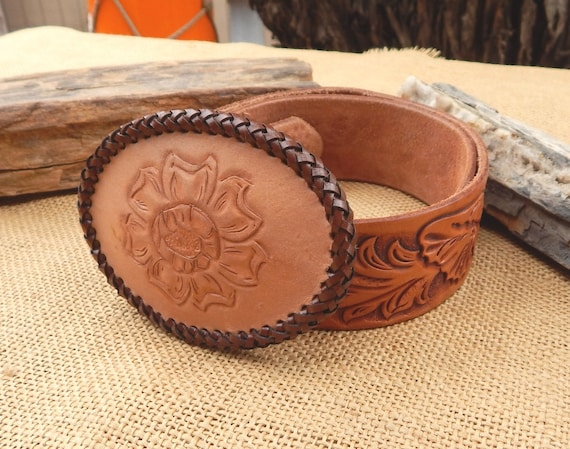 Tooled Leather Belt & Buckle  /  Leather Belt Buck