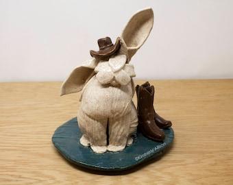Ceramic Bunny Rabbit Sculpture Western Cowboy