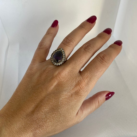 Vintage gemstone and silver ring