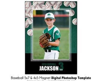 Digital File Only BASEBALL MAGNET 2-5x7 /& 4x5 Digital Photoshop Template Sports Photo PSD Photoshop Template