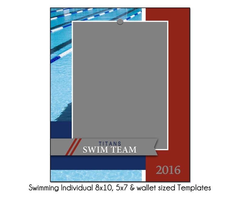 5x7 /& Wallet Memory Mate Sports Photo Template Digital File Swimming Individual 3-8x10