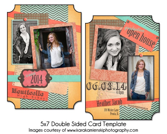 SENIOR STRIPES Instant Download digital File 5x7 Senior Announcement Card Template