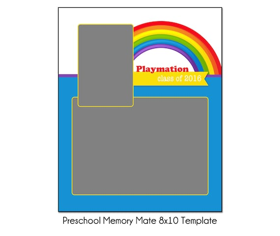 RAINBOW PRESCHOOL MM1 8x10 Memory Mate Sports Photo Template | Etsy