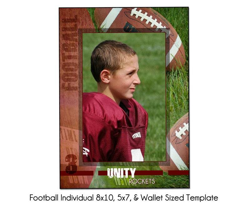 FOOTBALL Individual 1 - 8X10, 5x7 & Wallet Memory Mate Sports Photo  Template - Digital File