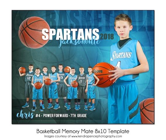 BASKETBALL MM1-8x10 Memory Mate Sports Photo Template Digital File