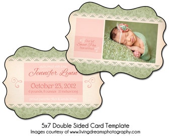 Birth Announcement Card Template - SWEET PEA - 5x7 Double Sided Card Template