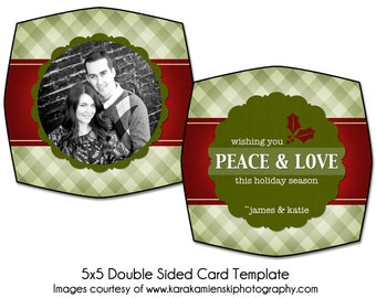PSD Holiday Card Template - HOLLY HOLIDAY