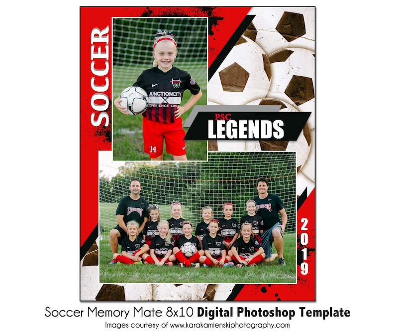 SOCCER MM8-8x10 Memory Mate Digital Photoshop Template Digital File Only Sports Photo PSD Photoshop Template