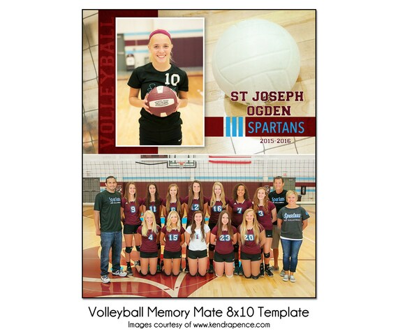 5x7 /& Wallet Memory Mate Template Sports Photo Template VOLLEYBALL Individual 5-8x10 Digital File