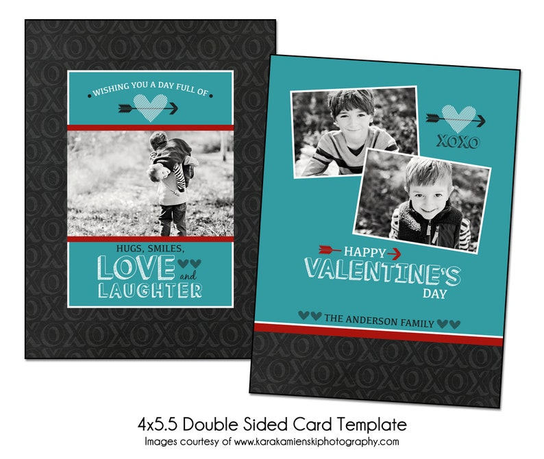 4x5 5 Double Sided Valentine S Card Template Photoshop Etsy