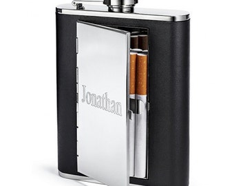 All-In-One Cigarette Case and 6oz Hip Flask