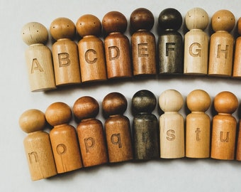 Multicultural Alphabet Peg Dolls | Uppercase & Lowercase Letters; Front and Back