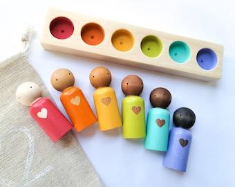 Small Multicultural Rainbow Heart Peg Dolls with Sorter Bar | Small Size | Playroom Decor, Dollhouse, Nursery Decor