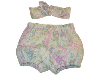 ec6d5be0bf82 Baby Bloomers and Knot Headband Set, Fairy Floral Diaper Cover, Cotton Bubble  Shorts, Baby Girl Clothes, Newborn Gift, Toddler Summer Outfit