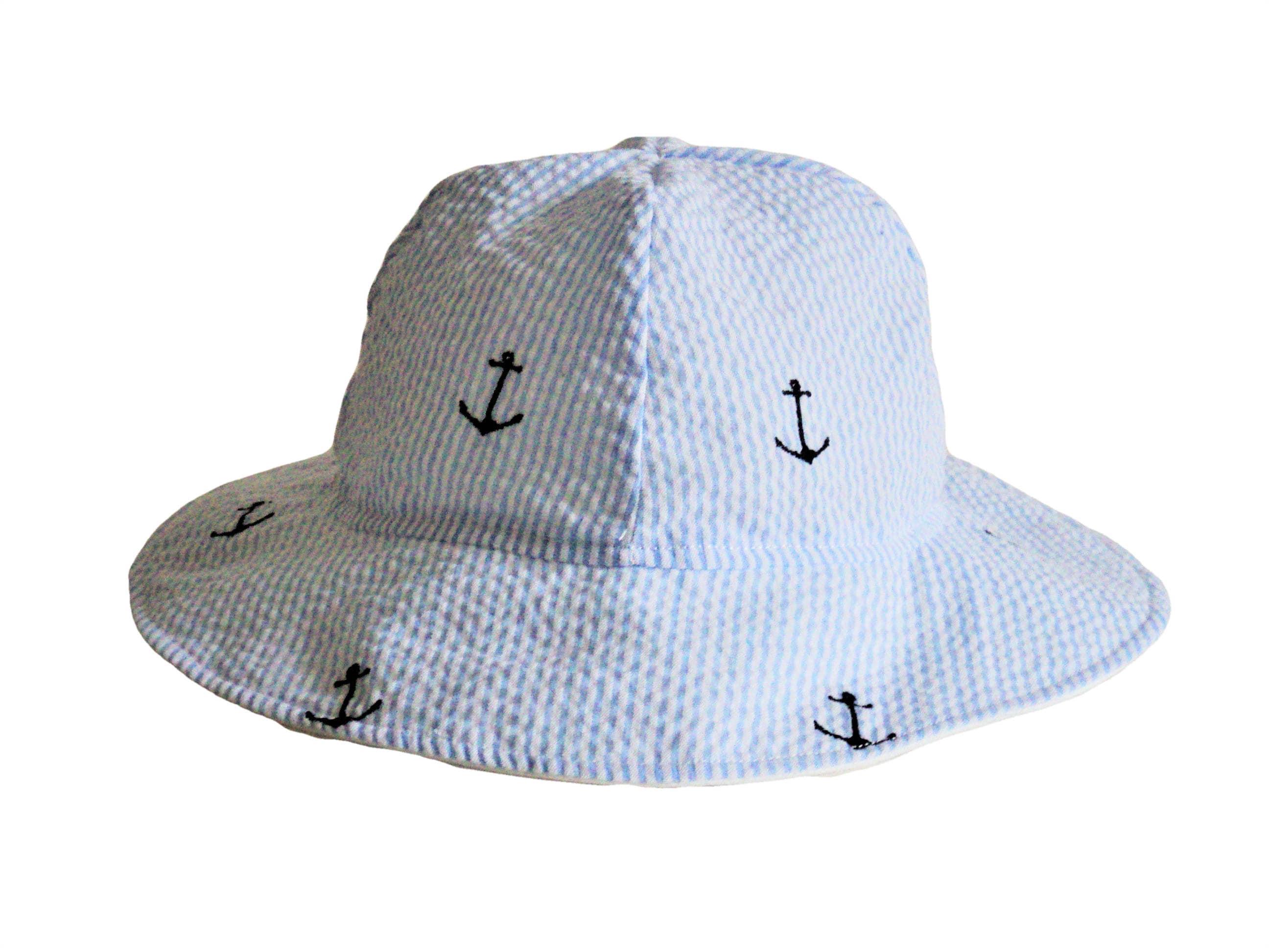 90402a4b336 Childrens Sun Hat Baby Sun Hat Seersucker Hat Toddler Hat | Etsy