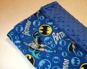 "Batman Baby Blanket, Security Blanket 19""X23"" Lovey, Superhero Baby, Geek Baby Gift, Minky Blanket, Baby Shower Gift,"