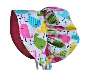 Baby Bonnet, Baby Sun Hat, Baby Sun Bonnet, Spring Birds Baby Girl Bonnet, Newborn Bonnet, Summer Bonnet, Toddler Hat, Garden Bonnet, Cotton