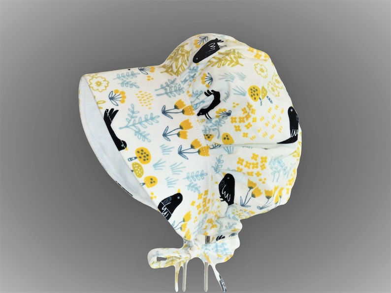 Newborn Hat Girl Sun Bonnet Wide Brim Summer Hat Infant Boho Baby Clothes Sun Hat Baby Bonnet Mustard Floral Bonnet with Navy Birds