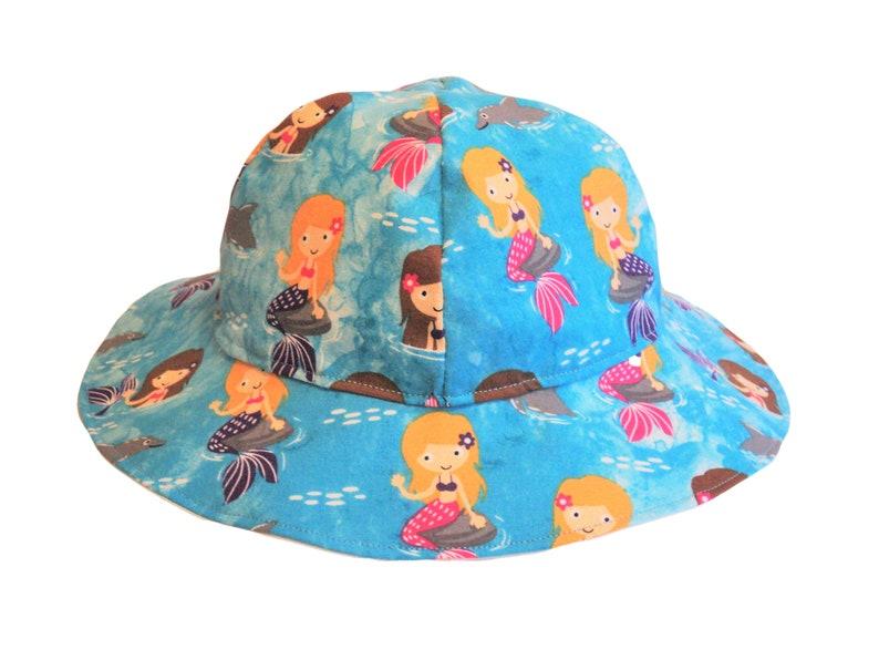 3963c2b42 Baby Girl Sun Hat, Mermaid Baby Clothes, Toddler Sun Hat, Wide Brim Summer  Hat, Floppy Beach Hat, Birthday Gift, Infant, Cotton Mermaid