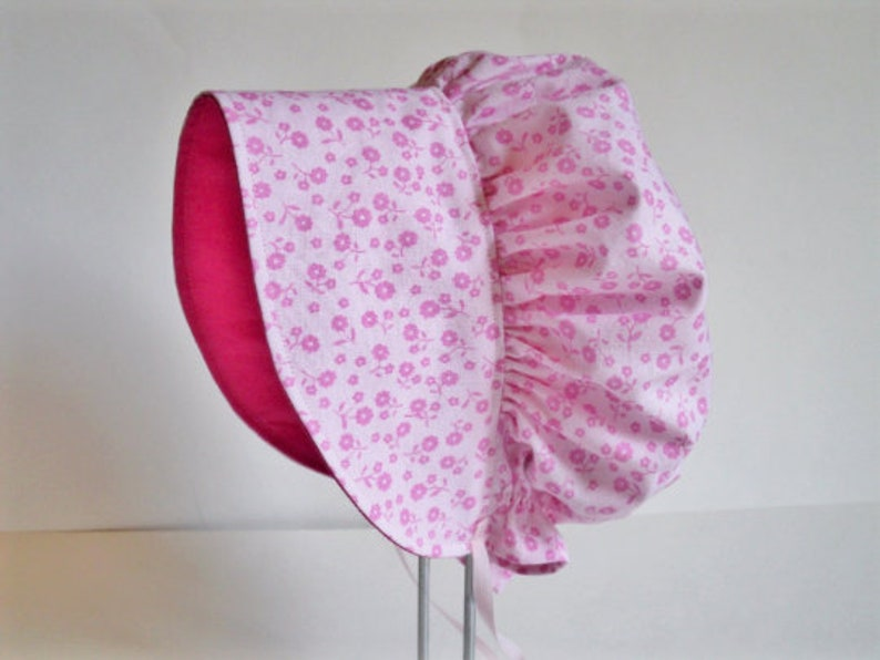 deafee6dc Baby Bonnet, Baby Sun Hat, Pink Floral Baby Girl Bonnet, Wide Brim Cotton  Hat, Summer Hat, Newborn Hat, Toddler Hat, Baby Gift, Baby Clothes