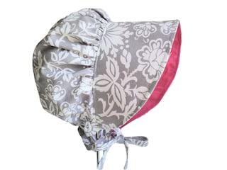 Modern Baby Bonnet, Sun Hat, Gray Floral Baby Girl Sun Bonnet, Toddler Hat,Wide Brim Summer Hat, Newborn Hat, Boho Baby Clothes, Infant Hat