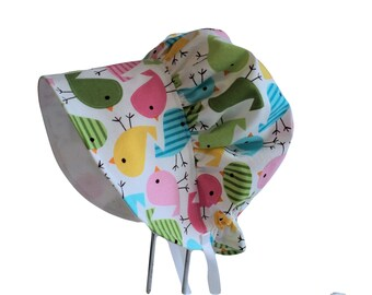 Baby Bonnet, Girl Sun Hat, Toddler Sun Hat, Sun Bonnet, Spring Birds Summer Hat, Newborn Hat, Baby Clothes, Infant Beach Hat, Vintage Style