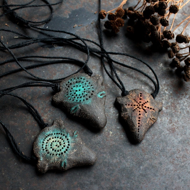 Bear necklace, shaman necklace, primitive strenght amulet, pagan stone age  necklace, black adjustable ceramic necklace, bohemian necklace
