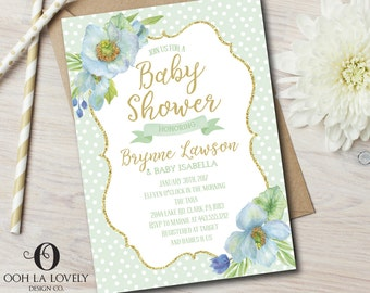 Baby Shower Invitation, Baby boy Shower Invite, Printable, it's a boy, Baby Shower invite - DIY, pink, Floral, blue, green