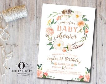 Peach Rustic Baby SHower Invitation, Printable, Printed Baby Shower Invitations, Gender Neutral Baby Shower Invitation