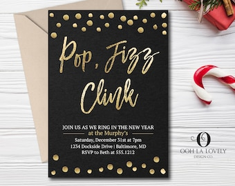 pop fizz clink new years eve invitation christmas party invitation cocktail party invitation printable gold and black