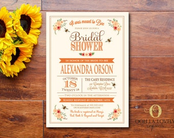 Meant to Bee Bridal Shower Invitation, Bridal Luncheon Invitation, Fall Bridal Shower Invite, DIY