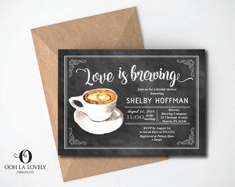 chalkboard love is brewing bridal shower invitation coffee bridal shower invite coffee cup bridal invite latte blackboard